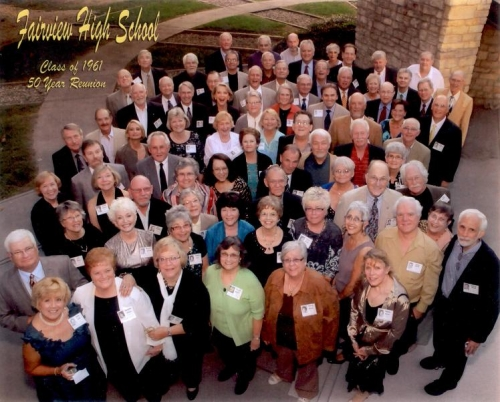 This group photo, including every alum who attended the 50th reunion, taken on the plaza outside the Dicke Transportatio